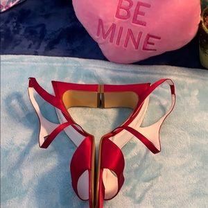 Michelangelo red wine strappy heels